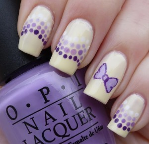 Purple Bow and Dots Nail Design