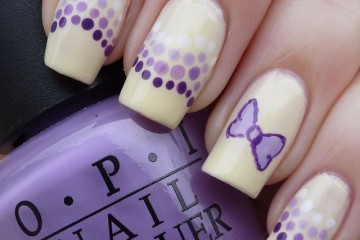 Delightful Purple Dots And Bows Simple Nail Art Design