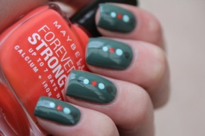 Green and Red Dots Nail Design