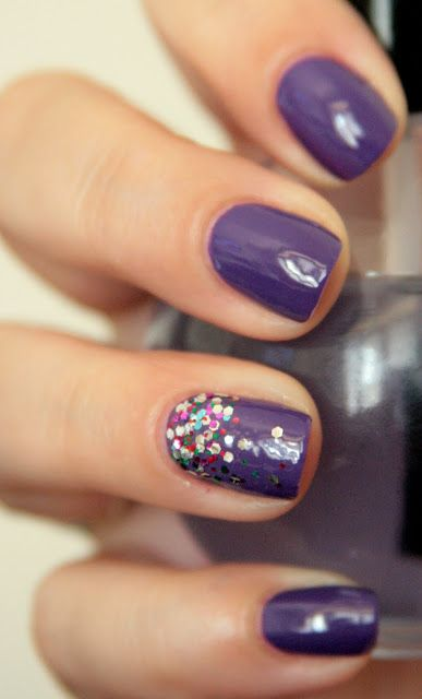 Purple Nail Design with Glitter
