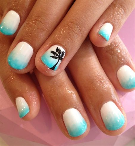 Beach Palm Tree Summer Nail Design
