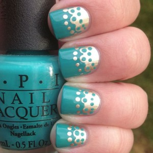 Turquoise Nail Design and Dots