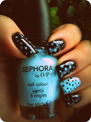 Blue and Black Spots Nail Design