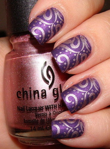 Purple Nail Design - Using China Glaze Harmony Nail Polish