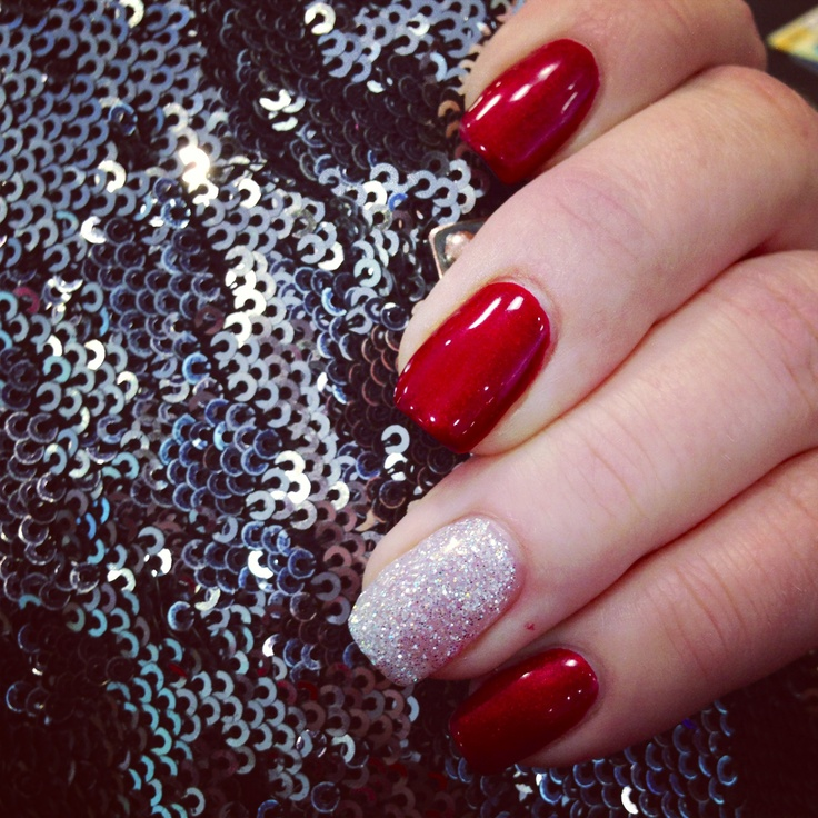 Red Nails with Silver Glitter - Using China Glaze Italian Red Polish