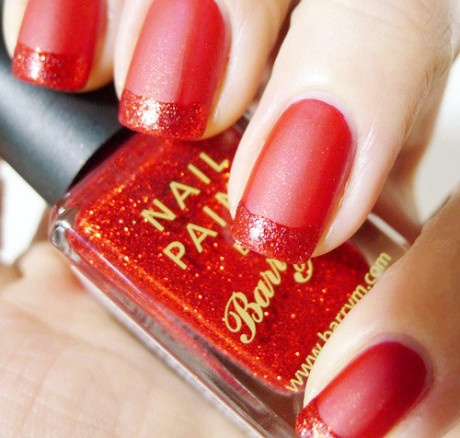 Red matte French nail