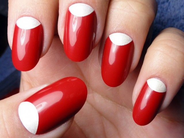 Red Nails with White Half Moons - Using China Glaze Italian Red Polish