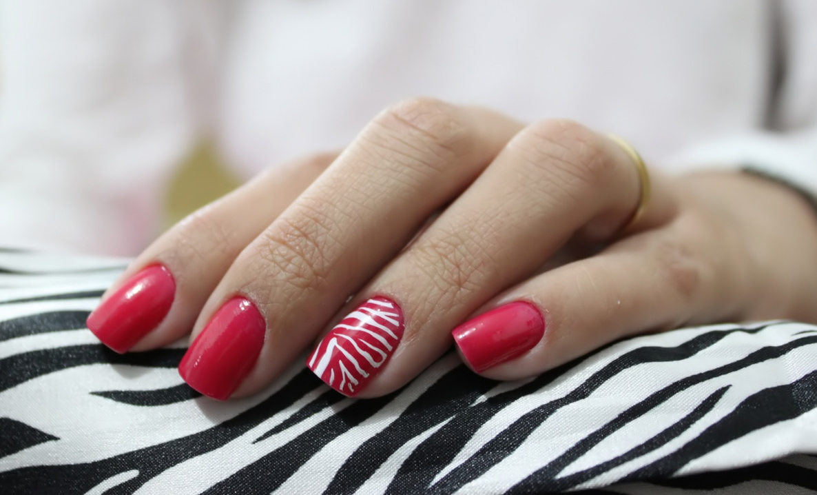 Red Nails with White Stripes - Using China Glaze Satin Red Polish