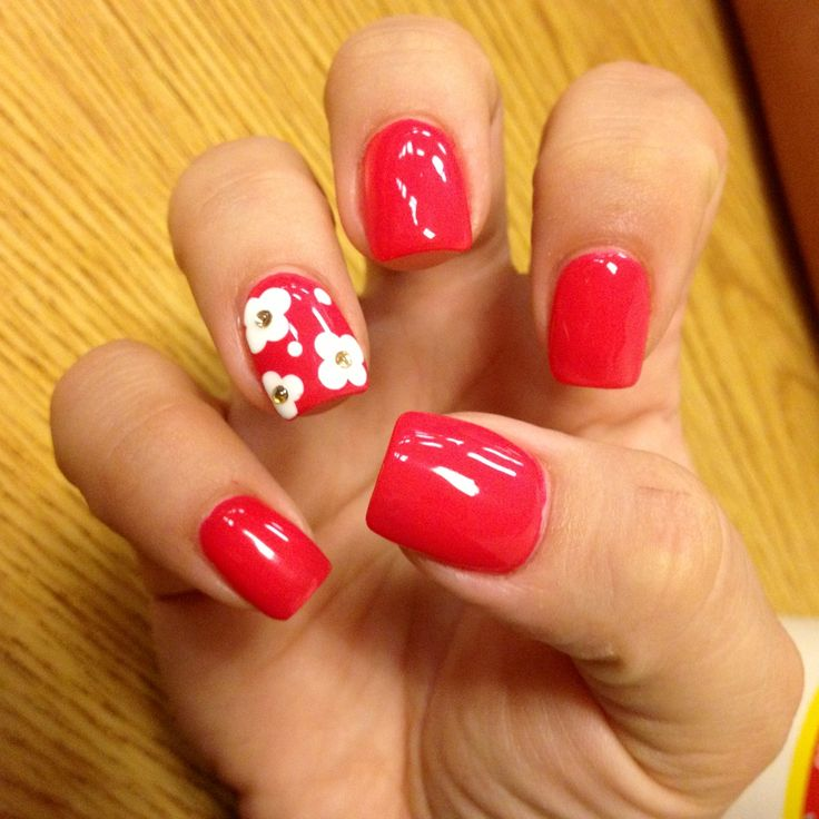 Red Nails with White Flower Design and Gold Gem - Using Essie Watermelon Nail Polish