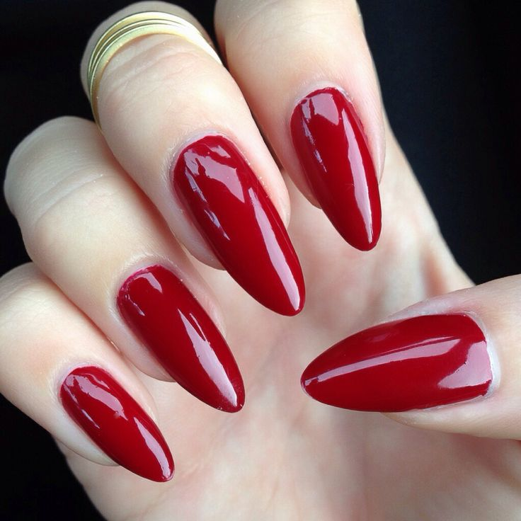 Wine Red Stiletto Nails - Using Essie Bordeaux Polish