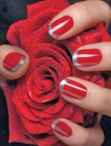 Red and Silver Mani - Using China Glaze Adventure Red Polish