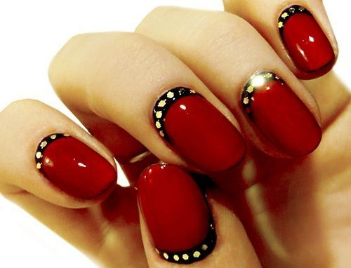 Red Nails with Black and Gold Spots Accent - Using Mirage Shiny Candy Apple Red