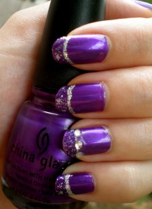Purple Glitter and Jewels Design - Using China Glaze Creative Purple Polish