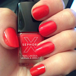 Coral Red Nails - Using Sephora Coral as part of the Disney Ariel Collection