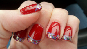 Red Nails with Glitter Tips - Using OPI Danke Shiny Red Polish