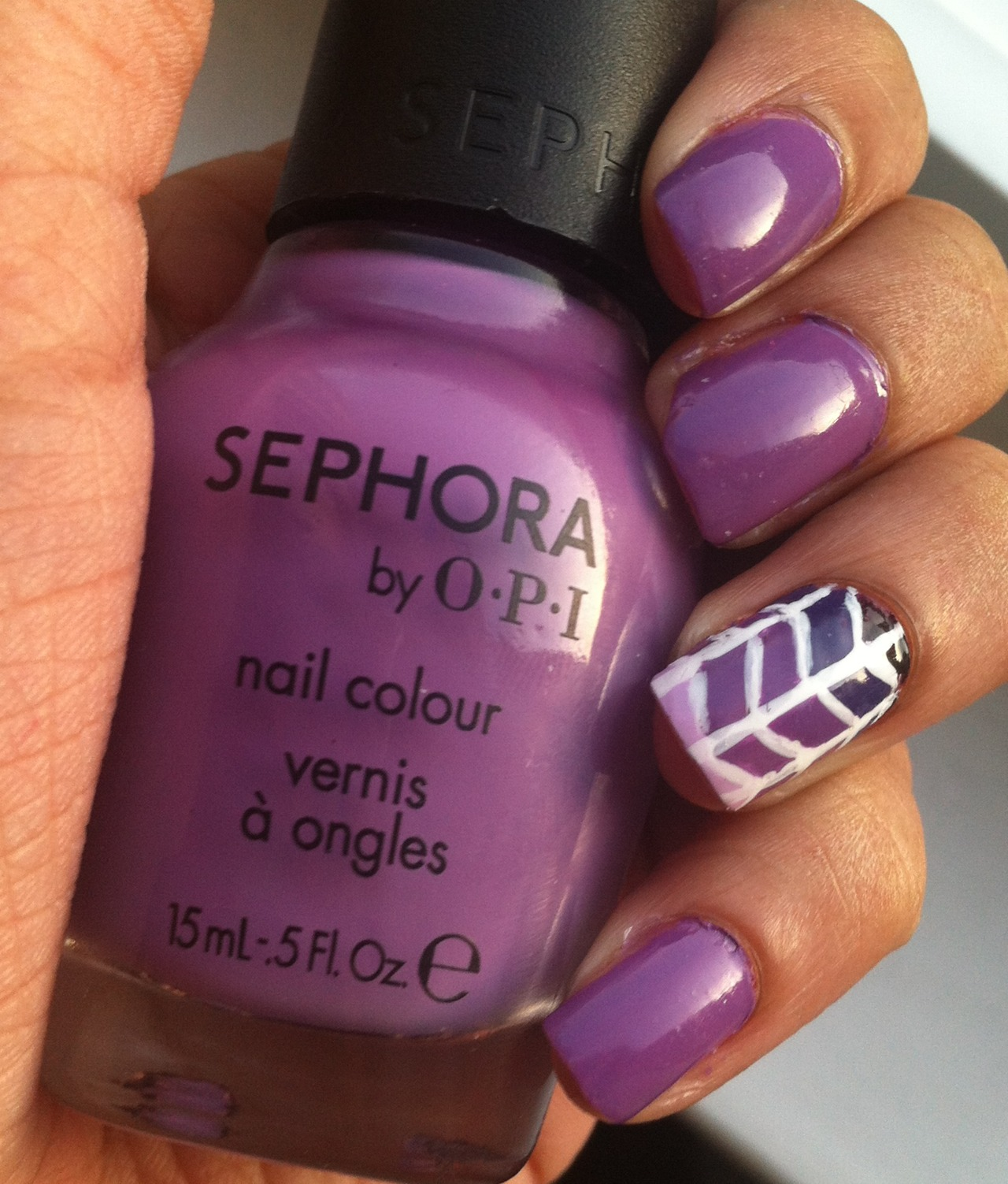 Purple and White Nail Art Design - Using OPI Sephora Polish