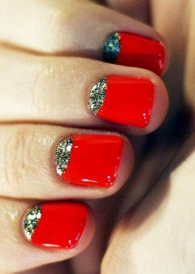 Red and Glitter Moon Nails - Using OPI Big Apple Red Polish