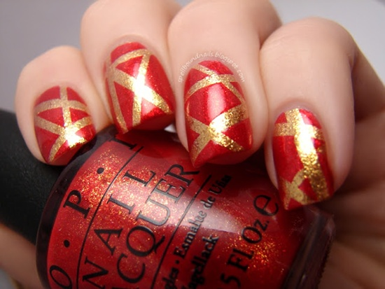 Red and Gold Glitter Stripes - Using OPI Indulgence Polish