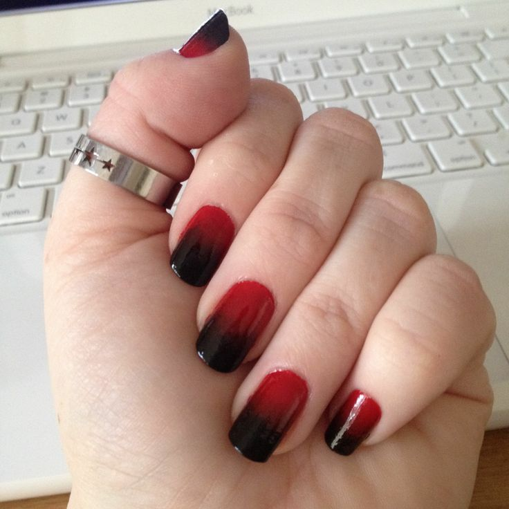 Red and Black Ombre Nails - Using Wet and Wild Shine Red Polish