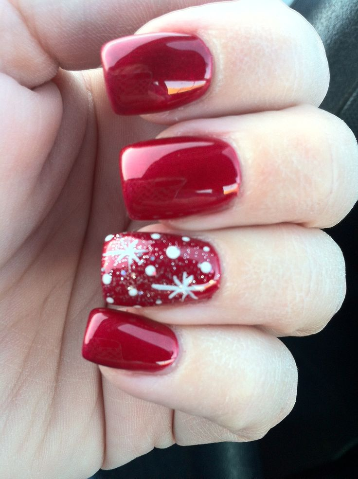Red Nails with Snowflake Design - Using Essie A List Dark Deep Red Polish
