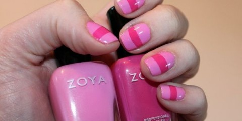 pink stripe short nail designs