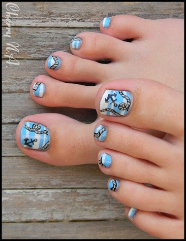 Anchor And Rope Nautical Toe Nail Design Nail Designs For You