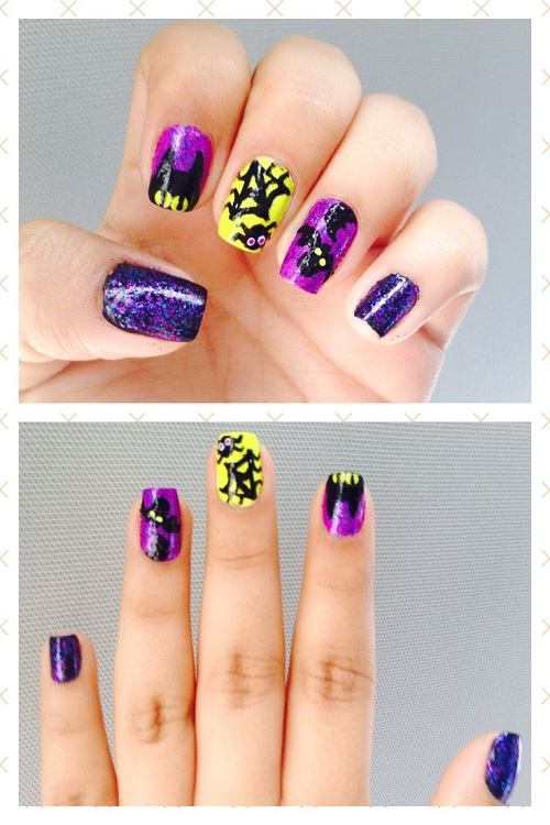 Bats and Webs Halloween Nail Designs Art
