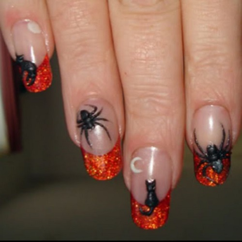 Black and Glitter Cats and Spiders Halloween Nail Designs Art