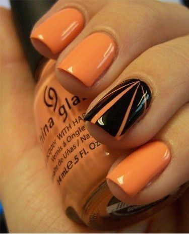 Classy Orange and Black Halloween Nail Design Art
