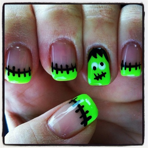 Frankenstein Design Nail Art