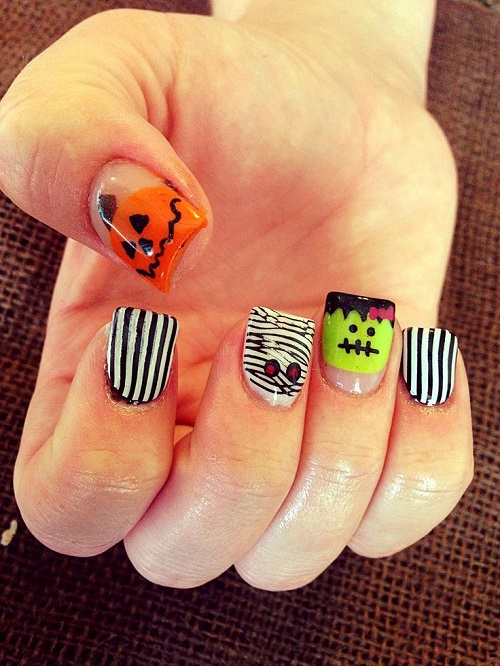 Frankensten Halloween Nail Art