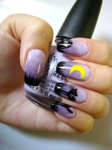 Nightime Halloween Nail Designs