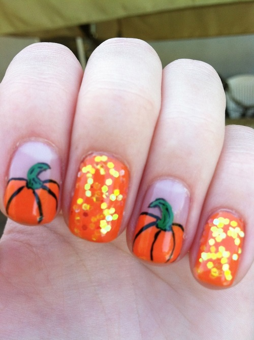Orange Glitter Pumpkin Halloween Nail Design Art