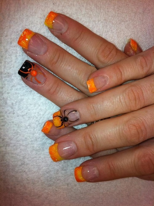 Orange Spider Halloween Nail Designs Art
