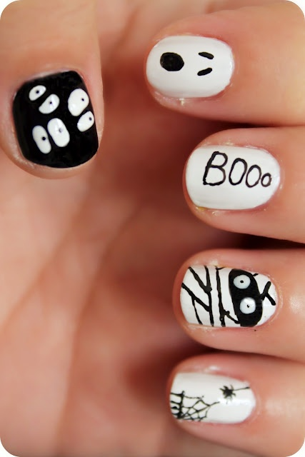 Scary Boo Halloween Nail Design Art