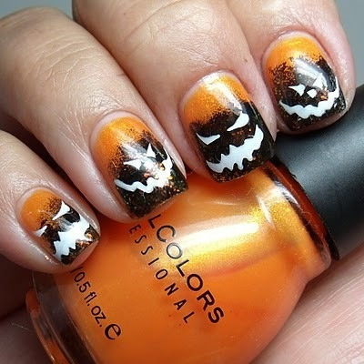 Scary Faces Halloween Nail Art