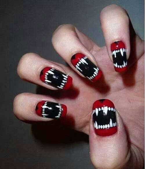 Scary Fangs Mouth Halloween Nail Designs Art