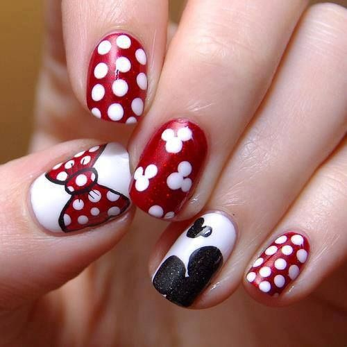 Bows and Spots Unique Nail Design