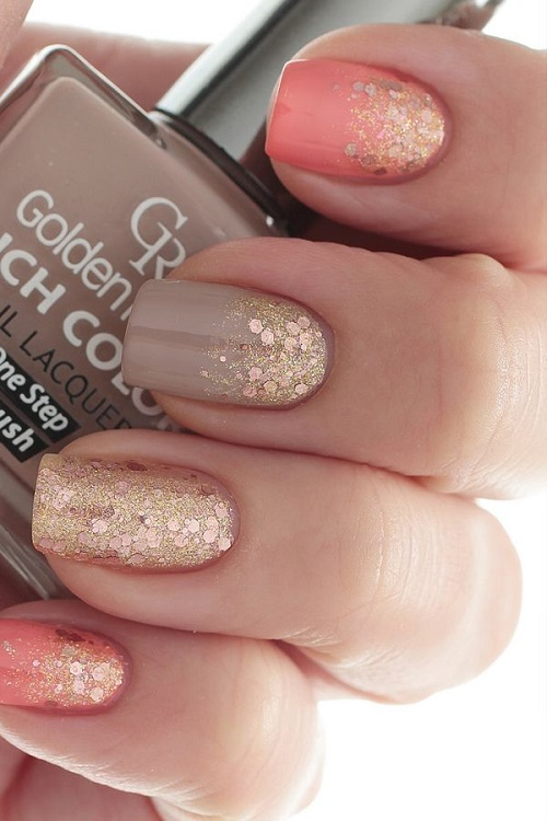 Coral Taupe and Gold Glitter Unique Nail Design - Coral Taupe And Gold Glitter Unique Nail Design - Nail Designs For You