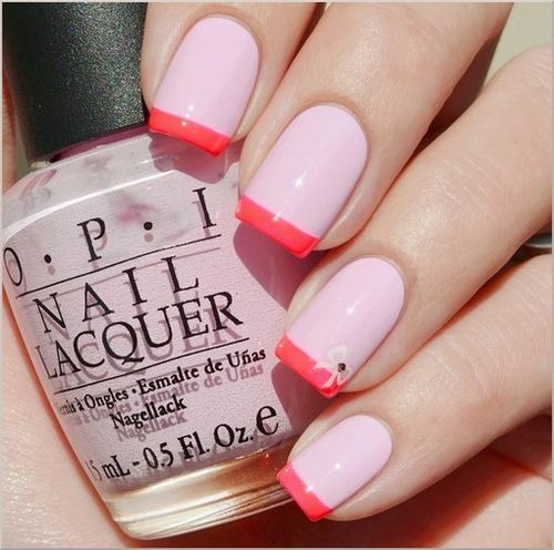 Coral And Pale Pink French Manicure Nail Designs For You