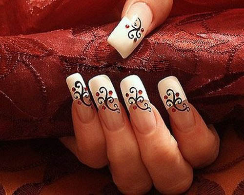 Elegant Floral French Tip Nails Nail Designs For You