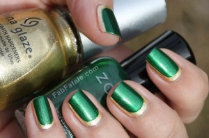 Green Elegant Metallic Nail Design