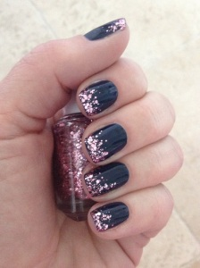 Navy with Glitter Tips Elegant Nail Design