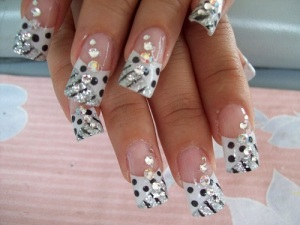 Spots and Jewels Elegant Nail Design