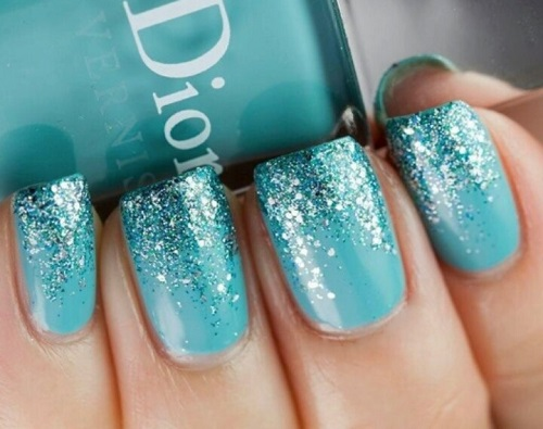 Tiffany Teal with Sparkle Fade Elegant Nail Design - Tiffany Teal With Sparkle Fade Elegant Nail Design - Nail Designs