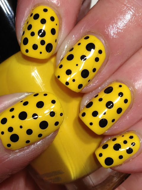Yellow and Black Spots Nail Design