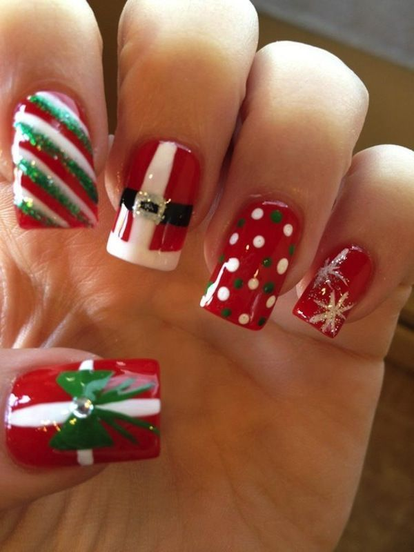 Mixed Christmas Nail Designs