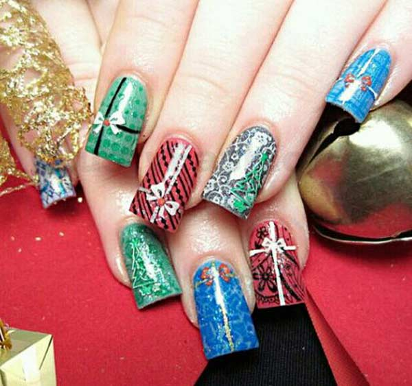 assorted christmas nail designs