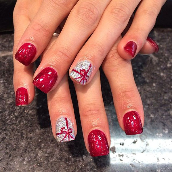 christmas bow present nail design