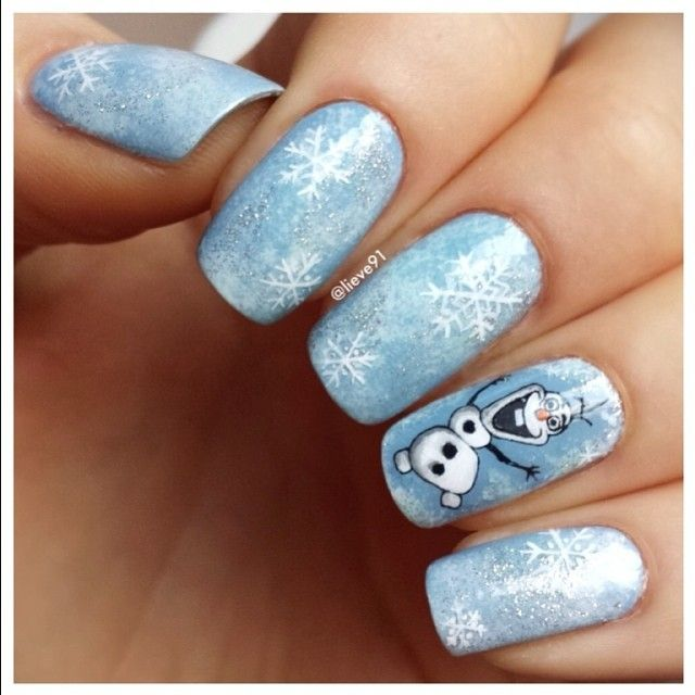 frozen christmas nail art design